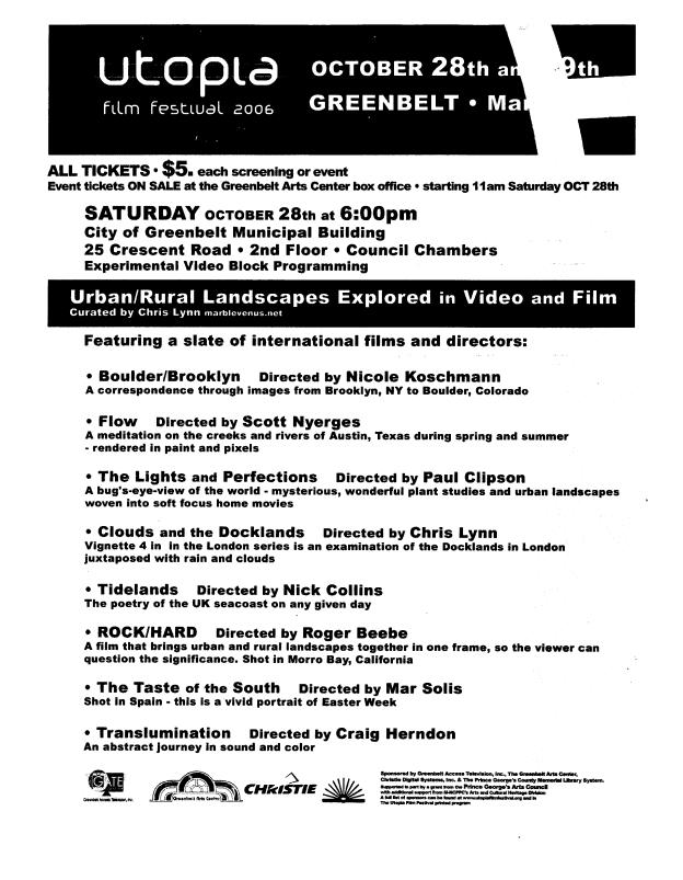 2006 Oct 28 Utopia Urban_Rural 2 Flyer