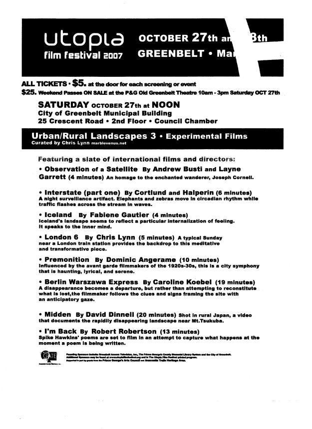 2007 Oct 27 Utopia Urban_Rural 3 Flyer